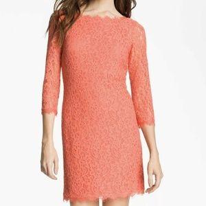 Diane Von Furstenberg Lace Zarita Dress Grapefruit